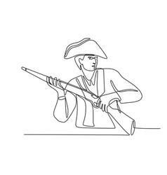 american minuteman patriot continuous line vector image
