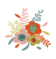Beautiful bouquet with flowers and leaves vector