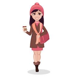 Beautiful girl cartoon character vector
