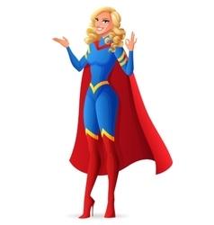 Beautiful sexy superhero woman showing OK sign vector