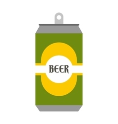 Beer can with beer label icon flat style vector image