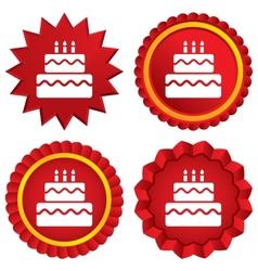 Birthday cake sign icon Burning candles symbol vector