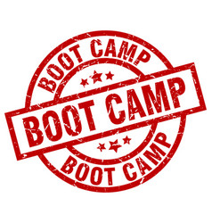 Boot camp round red grunge stamp vector