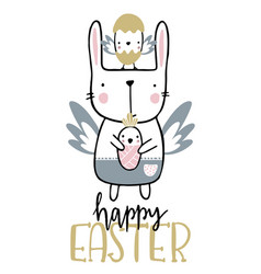Card with calligraphy lettering happy easter with vector