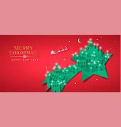 Christmas new year paper cut star winter city vector