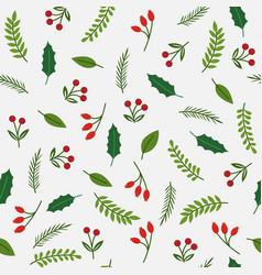 christmas plants flat design seamless pattern vector image