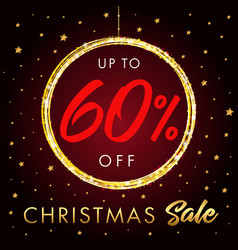 christmas sale up to 60 off star banner vector image