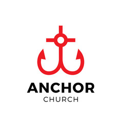 church christian cross with anchor and heart logo vector image