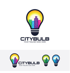 City bulb logo design vector