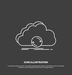 Cloud syncing sync data synchronization icon line vector