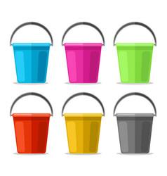 colored plastics pails vector image