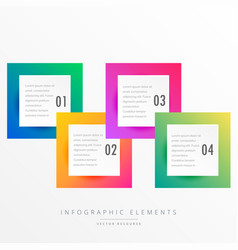Colorful four squares infographic template vector