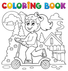 Coloring book kids play theme 2 vector