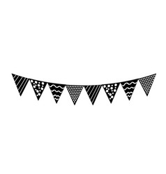 Contour party flags to decoration happy birthday vector