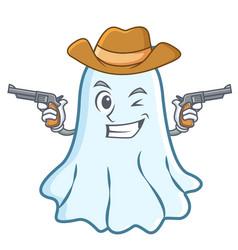 cowboy cute ghost character cartoon vector image