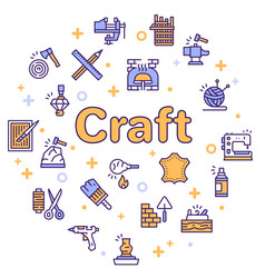 Craft and handmade color icon set hobbies work vector