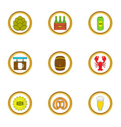 craft beer icons set cartoon style vector image