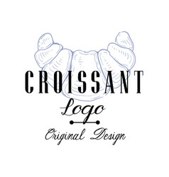 croissant logo original design retro emblem for vector image