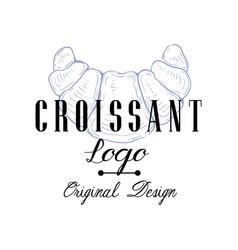 Croissant logo original design retro emblem vector
