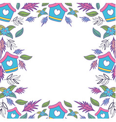 cute birdhouse wooden with flowers garden pattern vector image