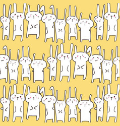 Cute bunny pattern background vector