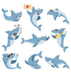 cute sharks set ocean life isolated shark scary vector image
