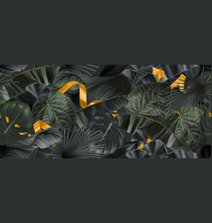 dark jungle leaves with gold ribbons seamless vector image