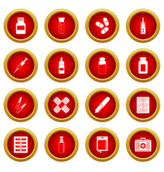 Different drugs icon red circle set vector