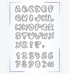 doodle alphabet drawn on page notebook vector image