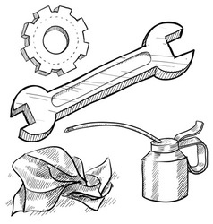 doodle mechanic wrench oil rag gear vector image