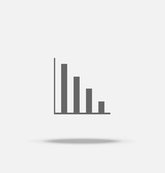 fall down bar graph flat design icon with shadow vector image