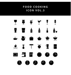 food cooking icon set glyph style set vol 3 vector image