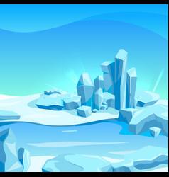 Frozen landscape with ice rocks cartoon vector
