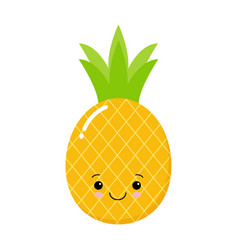 funny pineapple character with human face cartoon vector image