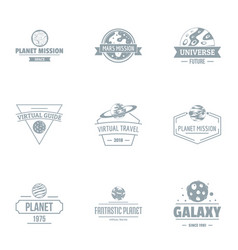 Galaxy size logo set simple style vector