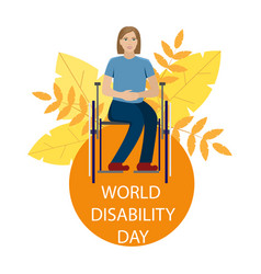 Girl is disabled in a wheelchair vector