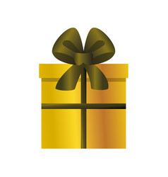 Golden gift box and bow celebration on white vector