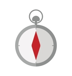 Gray silhouette compass icon withred diamond vector