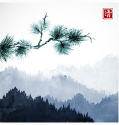 Green pine tree branch and blue mountains with vector