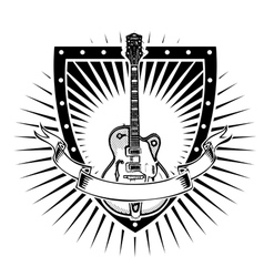 guitar shield vector image