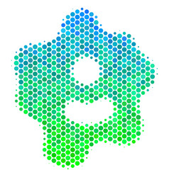 Halftone blue-green amoeba icon vector