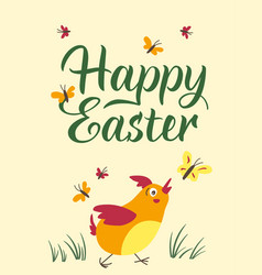 happy easter typographic poster vector image