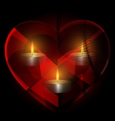 heart-crystal and candles vector image vector image
