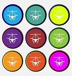 Helicopter icon sign Nine multi colored round vector