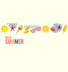 hello summer season poster template with silk vector image