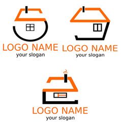 houses are stylized by numbers a set of logos vector image