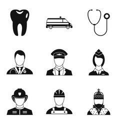 Human societal icons set simple style vector