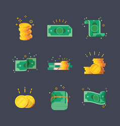 Icons dollar banknotes with golden coins vector