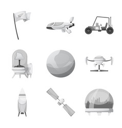 isolated object of mars and space logo set of vector image