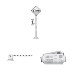 isolated object of train and station sign vector image
